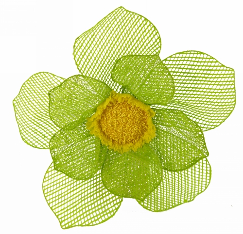 11164B-GR - 38cm Green Flower with yellow centre