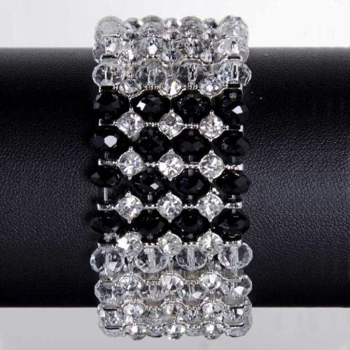 81166A - Black & Clear Crystal Stretch Bracelet