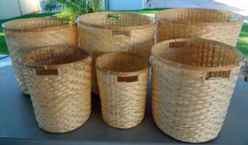 ADRBBS6 - Natural Round Bamboo Basket S/6