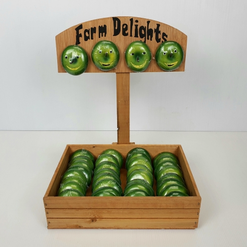 K1197- Wood display box with 36 apple magnets
