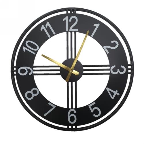 KC5171 - 50cm Black Open Faced Metal Clock