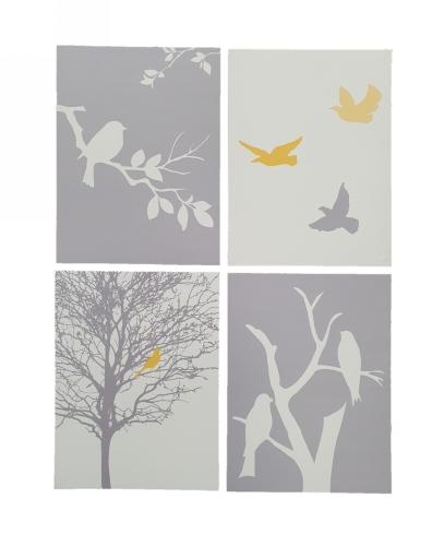 """KD7006 - Set of 4 Canvas """"Bird"""" Prints"""