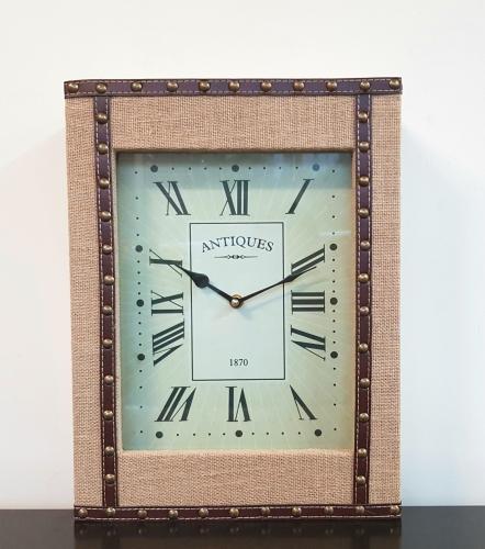 KE5051 - Fabric & Stud Mantle/Wall Clock