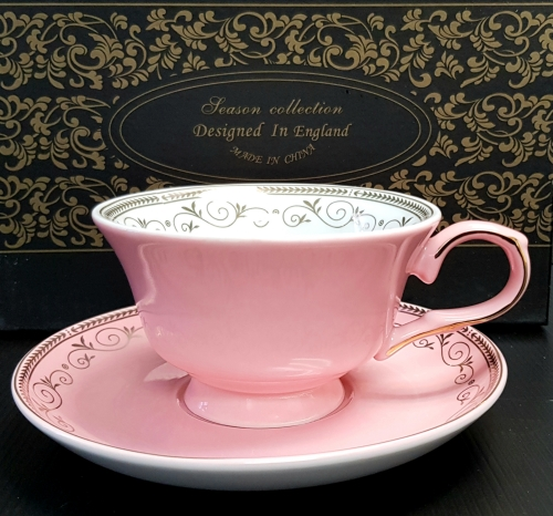 KLC-133 - Pink gold leaf chain w/rose cup & saucer set of 2