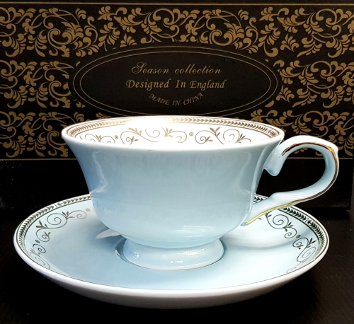 KLC-136 - Blue gold leaf chain w/rose cup & saucer set of 2