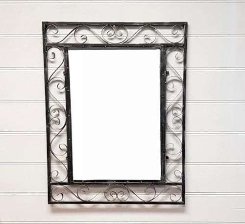 MR90291C-BK - Ornate Black Iron Mirror